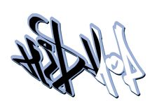 Hip-hop2. Inscription hip-hop in style of graffiti made by means of a computer stock illustration
