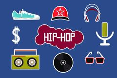 Hip-Hopstickers, vectorillustratie rode blauwgroen vector illustratie