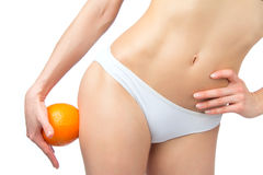 Hip legs abdomen and orange in hand cellulite liposuction Royalty Free Stock Photo