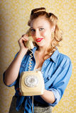 Hip Retro Girl Talking On Vintage Telephone Stock Photos