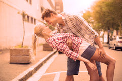 Hip romantic couple dancing in the street Royalty Free Stock Images