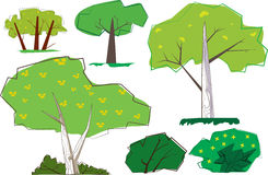 Hip 60s Retro Trees. Unique 60s animation style trees and shrubs, Green and yellow foliage, with white and brown trunks royalty free illustration