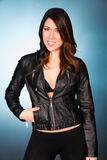 Hip Smiling Young Adult Woman Wearing Leather Jacket Hooded Swea Stock Photos