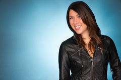 Hip Smiling Young Adult Woman Wearing Leather Jacket Hooded Swea Royalty Free Stock Photo