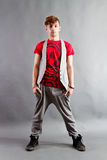 Hip teenager. Dressed in street outfit stock photo