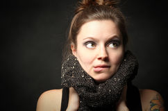 Hip woman wearing scarf. Royalty Free Stock Photos