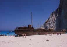 Ship wreck beach Zakynthos Stock Photos
