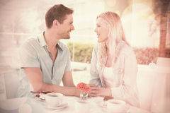 Hip young couple having desert and coffee together Stock Photo