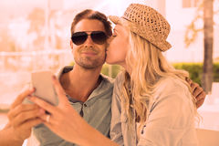 Hip young couple taking a selfie together Royalty Free Stock Photos