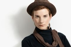 Hip young woman in hat Royalty Free Stock Photo
