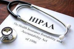 Πράξη HIPAA φορητότητας και υπευθυνότητας ασφάλειας υγείας Στοκ Φωτογραφίες