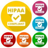 HIPAA badge - Health Insurance Portability and Accountability Act icons. Set with long shadow, vector vector illustration