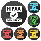 HIPAA badge - Health Insurance Portability and Accountability Act icons set with long shadow Stock Photography
