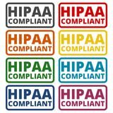 HIPAA badge - Health Insurance Portability and Accountability Act icons set with long shadow Stock Images