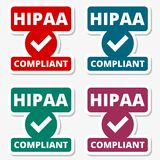 HIPAA badge - Health Insurance Portability and Accountability Act stickers set Stock Images