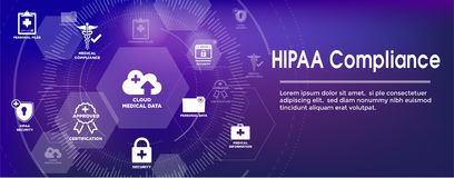 HIPAA Compliance Web Banner Header with Medical Icon Set and tex Vector Illustration