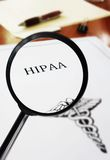 HIPAA document magnified Stock Photography