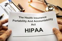 HIPAA El acto de la movilidad y de la responsabilidad del seguro médico fotos de archivo libres de regalías