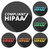 HIPAA - Health Insurance Portability and Accountability Act icons set with long shadow Stock Photos