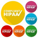 HIPAA - Health Insurance Portability and Accountability Act icons set with long shadow Royalty Free Stock Photos