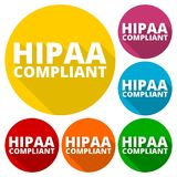 HIPAA - Health Insurance Portability and Accountability Act icons set with long shadow Stock Photo