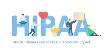 HIPAA, Krankenversicherungs-Beweglichkeit und Verantwortlichkeits-Tat Konzept mit Schlüsselwörtern, Buchstaben und Ikonen Flacher stock abbildung