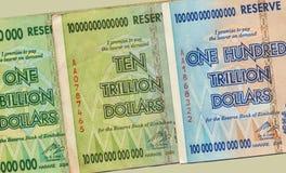 hiper- banknot inflacja Zimbabwe fotografia stock
