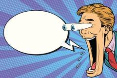 Hiper- ekspresyjna reakci kreskówki mężczyzna twarz, Komiczny bąbel royalty ilustracja