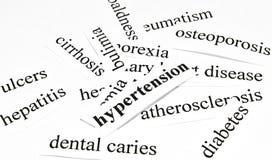 Hipertensión. Concepto de la atención sanitaria de enfermedades causadas por la nutrición malsana Fotografía de archivo