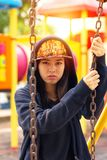 Hiphop asian girl. Hiphop asian young girl in the public park Stock Photos