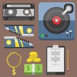 Hiphop bijkomende musicus met van de tiksymbolen van microfoonbreakdance de expressieve vectorillustratie stock illustratie