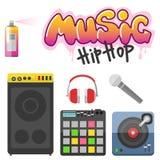 Hiphop bijkomende musicus met van de tiksymbolen van microfoonbreakdance de expressieve vectorillustratie royalty-vrije illustratie