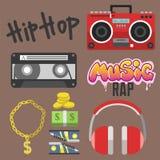 Hiphop bijkomende musicus met van de tiksymbolen van microfoonbreakdance de expressieve vectorillustratie vector illustratie
