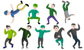 Hiphop dance icons set, cartoon style vector illustration