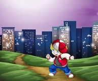 A hiphop dancer near the tall buildings. Illustration of a hiphop dancer near the tall buildings stock illustration
