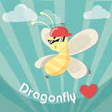 Hiphop dragonfly. Hip-hop dragonfly music jazz cute stock illustration