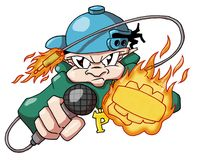 Hiphop flame mc. Hip hop character with microphone, flames and cables Royalty Free Stock Photos