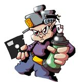 Hiphop graffiti writer. Hip hop graffiti character with spray can, aerosol and floppy disc Royalty Free Stock Photos