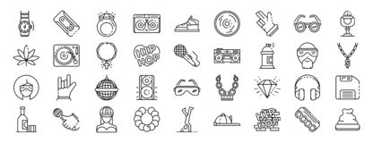 Hiphop icon set, outline style. Hiphop icon set. Outline set of hiphop vector icons for web design isolated on white background vector illustration