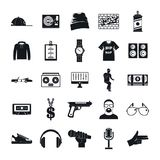 Hiphop rap swag music dance icons set, simple style. Hiphop rap swag music dance icons set. Simple illustration of 16 hiphop rap swag music dance vector icons stock illustration