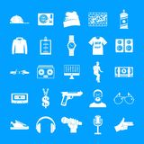 Hiphop rap swag music dance icons set, simple style. Hiphop rap swag music dance icons set. Simple illustration of 16 hiphop rap swag music dance vector icons vector illustration