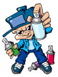 Hiphop style graffiti kid. With spray cans vector illustration