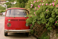 Hipis miłość pokoju samochód dostawczy i Fotografia Stock