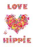 Hipisa druk z kierowym kształtem, abstrakcjonistycznymi kolorowymi kwiatami, pieczarkami i tęczą, Zdjęcie Royalty Free