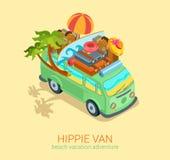 Hipisa samochodu dostawczego podróży plaży przygody wakacje płaska 3d sieć isometric Zdjęcia Stock
