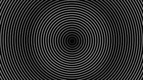 Hipnotizar la abstracción de los anillos blancos que mueven encendido el fondo negro libre illustration