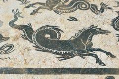 Hipocampo, mosaico de la casa de Neptuno, ciudad romana de Italica, Andalucía, España Fotografía de archivo libre de regalías
