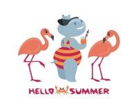 Hipopótamo amusing que tem um resto na praia Imagem de Stock