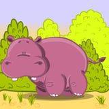Hipopótamo bonito do vetor dos desenhos animados Fotografia de Stock Royalty Free