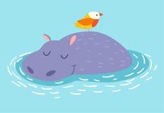 Hipopótamo bonito e pássaro no fundo da água Imagens de Stock